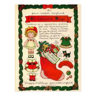 Vintage Christmas Paper Doll Postcard