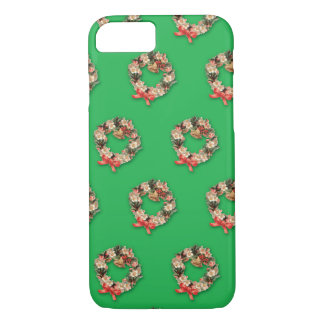 Vintage Christmas Pattern, Floral Wreaths iPhone 7 Case
