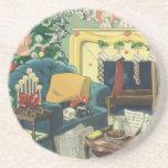Vintage Christmas Pets Drink Coasters