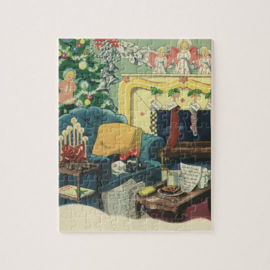 Vintage Christmas Pets in the Living Room Jigsaw Puzzle