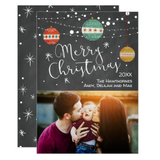 Vintage Christmas Photo Card with Ornaments