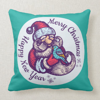 Vintage Christmas pillow of Santa Claus with bird.