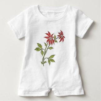 Vintage Christmas Poinsettia Baby Bodysuit