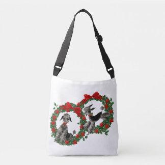 Vintage Christmas Poodles in Poinsettia Wreaths Crossbody Bag