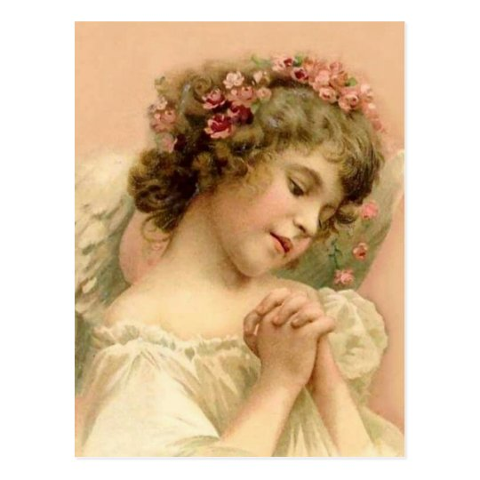 Vintage Christmas Praying Angel Postcard