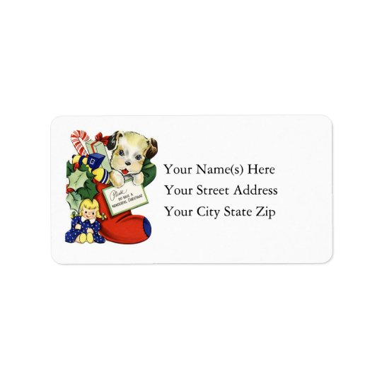 Vintage Christmas Puppy in Stocking Address Label