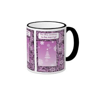 Vintage Christmas, Purple trees Coffee Mugs