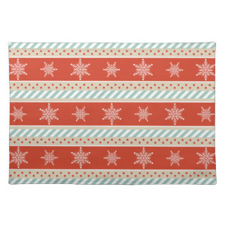 Vintage Christmas Red Mint Snowflakes Pattern Placemat