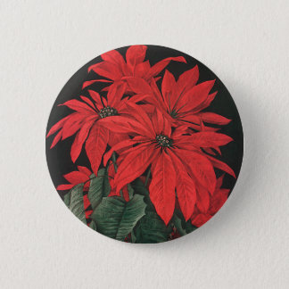 Vintage Christmas Red Poinsettia Plants Flowers 6 Cm Round Badge
