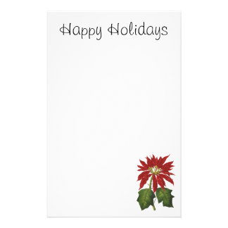 Vintage Christmas, Red Poinsettia Winter Plant Personalised Stationery