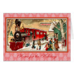 Vintage Christmas Red Train Greeting Card