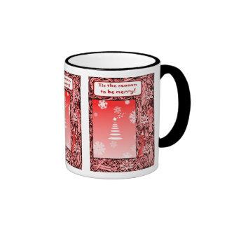 Vintage Christmas, red trees Coffee Mugs