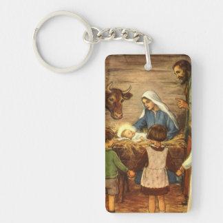 Vintage Christmas, Religious Nativity w Baby Jesus Double-Sided Rectangular Acrylic Key Ring