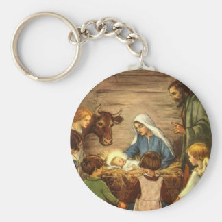 Vintage Christmas, Religious Nativity w Baby Jesus Basic Round Button Key Ring