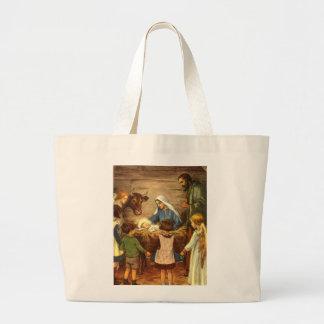 Vintage Christmas, Religious Nativity w Baby Jesus Jumbo Tote Bag