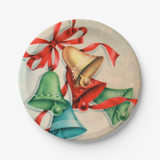 Vintage Christmas retro bells party plate