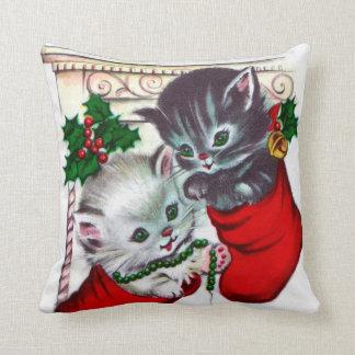 Vintage Christmas retro cats home decor pillow