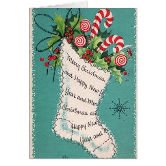 Vintage Christmas retro stocking add text card