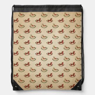Vintage Christmas Rocking Horse Pattern Drawstring Bag