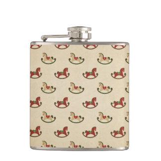 Vintage Christmas Rocking Horse Pattern Hip Flask