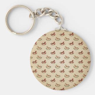 Vintage Christmas Rocking Horse Pattern Key Ring