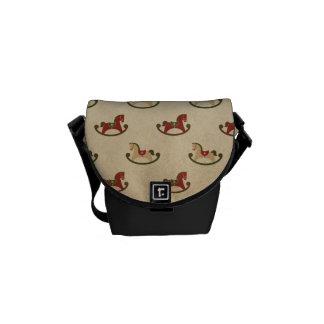 Vintage Christmas Rocking Horse Pattern Messenger Bag