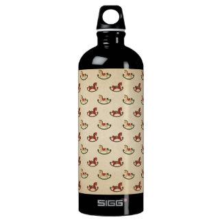 Vintage Christmas Rocking Horse Pattern Water Bottle
