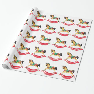 Vintage Christmas Rocking Horse Wrapping Paper