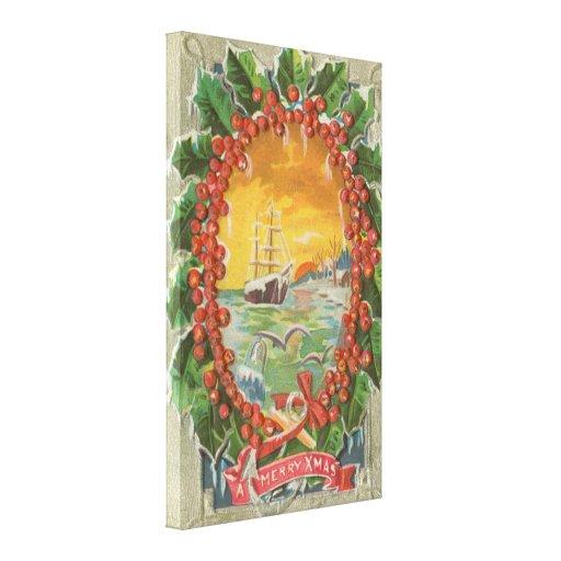 Vintage Christmas Sailboat Wreath Canvas Print
