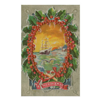 Vintage Christmas Sailboat Wreath Posters