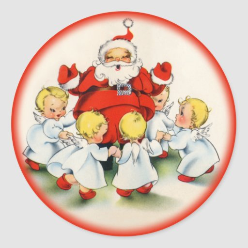 Vintage Christmas Santa and Angels Sticker