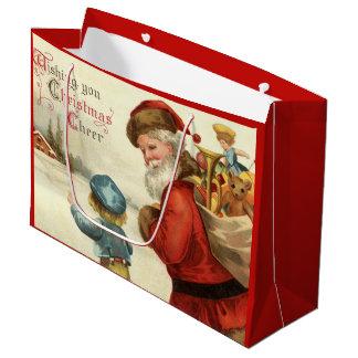 Vintage Christmas Santa and Child party bag