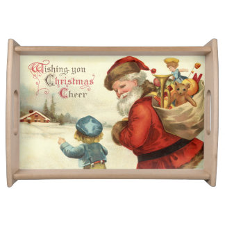 Vintage Christmas Santa and Child party serving Serving Tray