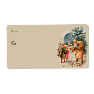 Vintage Christmas Santa and Children Gift Tags