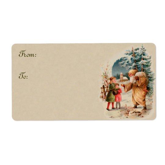 Vintage Christmas Santa and Children Gift Tags