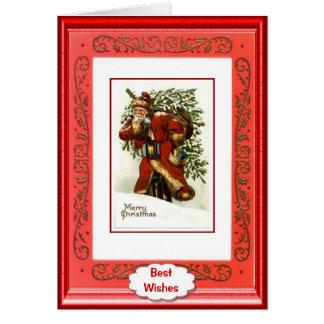 Vintage Christmas, Santa and the tree Greeting Card