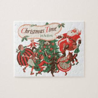 Vintage Christmas Santa Claus and Dancing Children Puzzle
