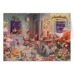 Vintage Christmas, Santa Claus and Elves Workshop Greeting Cards
