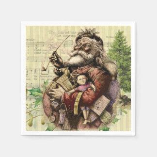 Vintage Christmas Santa Claus Art Print Disposable Serviette