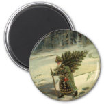 Vintage Christmas, Santa Claus Carrying a Tree 6 Cm Round Magnet