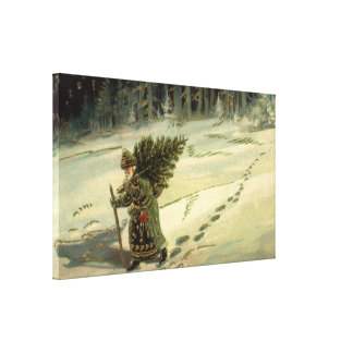 Vintage Christmas, Santa Claus Carrying a Tree Canvas Print
