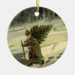 Vintage Christmas, Santa Claus Carrying a Tree Christmas Ornaments
