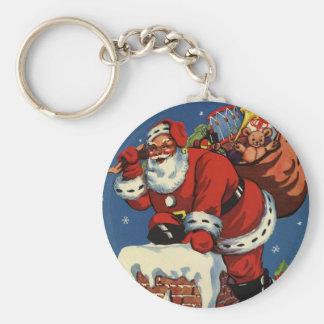 Vintage Christmas, Santa Claus Chimney Toys Key Chain