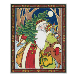 Vintage Christmas, Santa Claus Deer in Forest Poster
