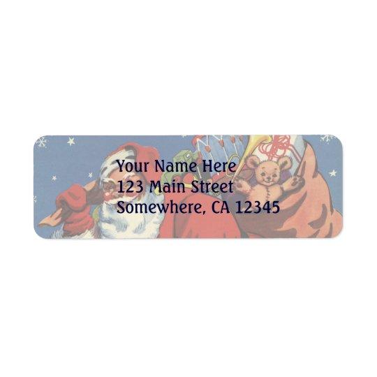 Vintage Christmas, Santa Claus Down Chimney w Toys Return Address Label