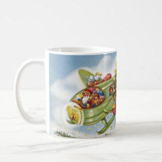 Vintage Christmas, Santa Claus Flying an Airplane Coffee Mug