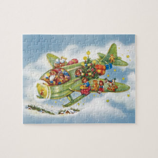 Vintage Christmas, Santa Claus Flying an Airplane Jigsaw Puzzle