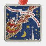Vintage Christmas, Santa Claus Flying His Sleigh Christmas Tree Ornament