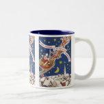 Vintage Christmas, Santa Claus Flying His Sleigh Coffee Mug