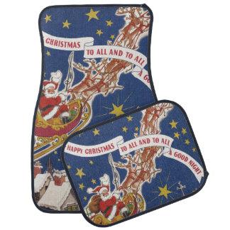 Vintage Christmas, Santa Claus Flying His Sleigh Car Mat